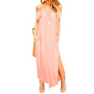 For G and PL Dresses - NWT Summer Cold Shoulder & Pocket Maxi Dress, Pink